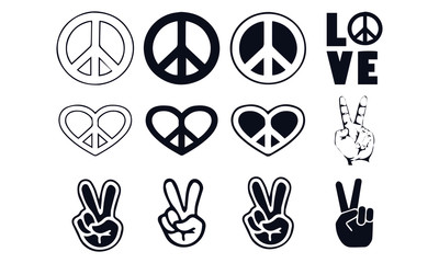 Peace sign vector design black and white Fototapete