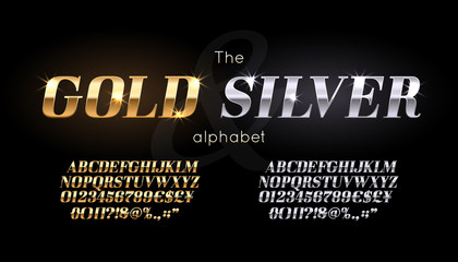 Silver and Gold serif font and alphabet. Vintage abc, vector english letters and numbers
