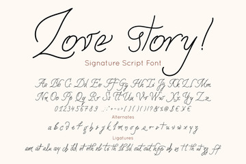 Love story vector font and alphabet. Vintage letters and numbers for fashion and wedding Invitation, card, banner