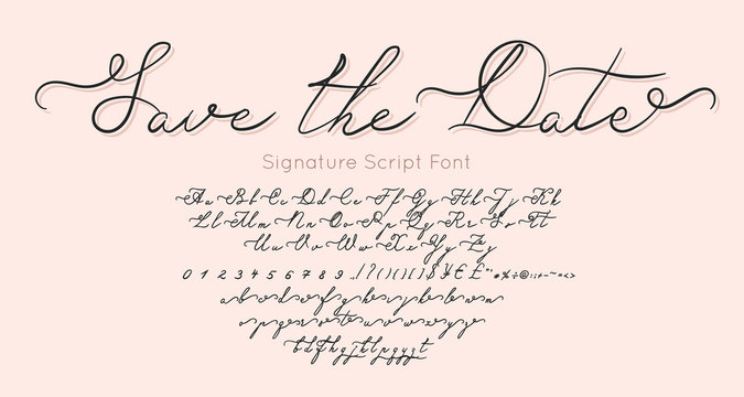 Save The Date vector font and alphabet. Vintage letters and numbers for fashion and wedding Invitation, card, banner