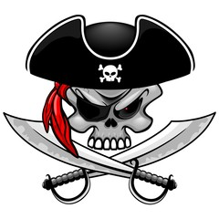 Zelfklevend Fotobehang Draw Skull Pirate Captain with Crossed Sabers