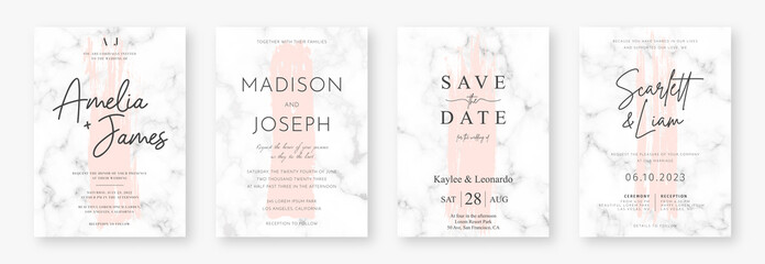 Fototapeta Wedding card design with pink brush strokes and marble texture. Set of wedding announcement or invitation design template