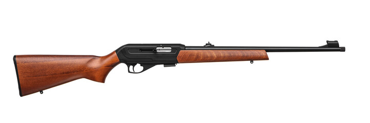 Small-bore rifle 22 lr with wooden butt isolated on white back
