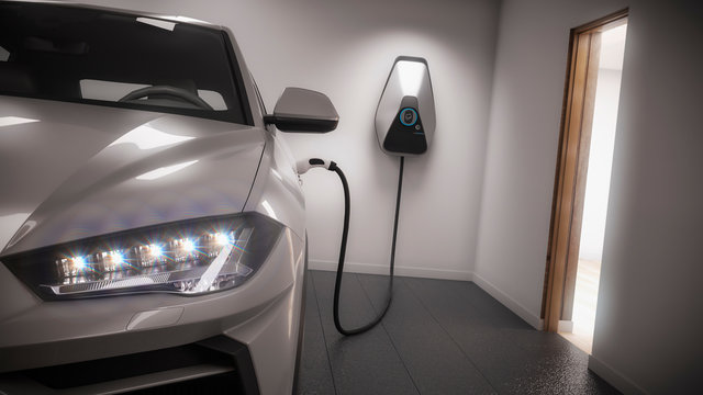 charging electric car generic suv in garage 3d rendering