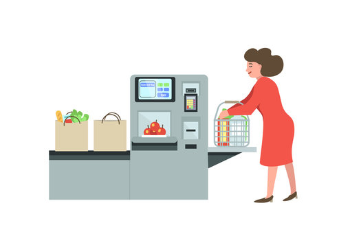 Self-service cashier or terminal. Woman customer shopping in self checkout supermarket. Vector illustration.