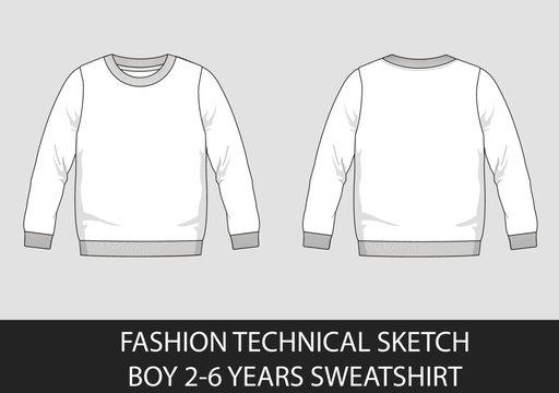 Fashion technical sketch boy 2-6 years sweatshirt