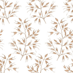 Seamless vintage summer lineart pattern isolated. Spikelets of oats on a white background. Texture for textile, wrapping paper, website.