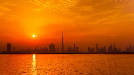 United Arab Emirates, Dubai, silhouette of the skyline at twilight