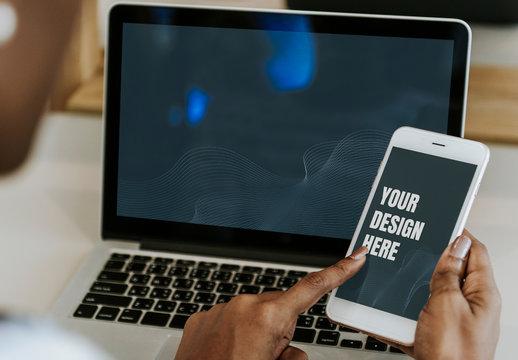 Black Woman Using Digital Devices Mockup