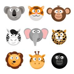Wild animal emoticons. Vector cartoon funny smileys faces, cartoon animal emojis. Wild face animal head, smiley avatar illustration