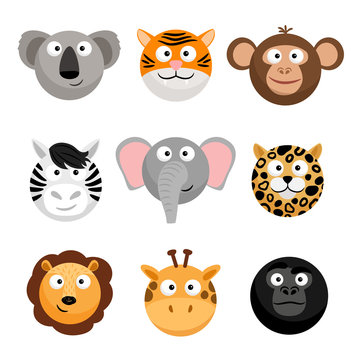 Wild animal emoticons. Vector cartoon funny smileys faces, cartoon animal emojis. Wild face animal head, smiley avatar illustration