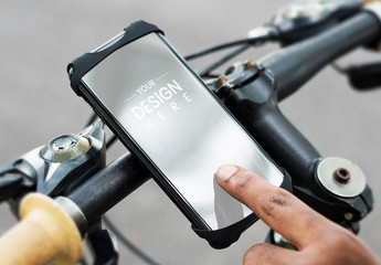 Cyclist Using a Mobile Phone Mockup