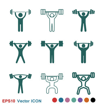 Weightlifter icon vector sign symbol for design