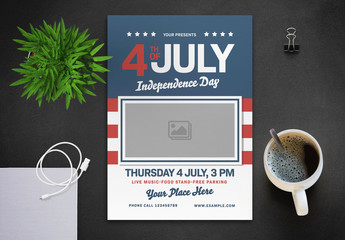 4th of July Flyer Layout with Flag and Photo Placeholder