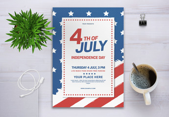 4th of July Flyer Layout with Flag