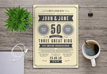 Anniversary Invitation Layout with Ornamental Decorations