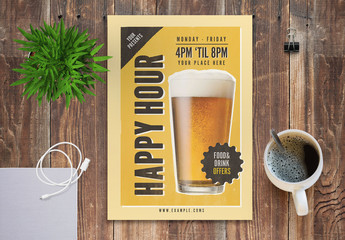 Happy Hour Flyer Layout with Beer Image