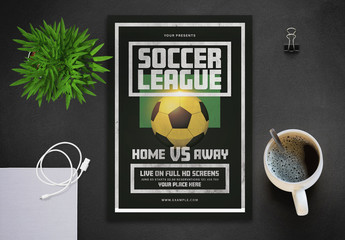Soccer Game Flyer Layout with Soccer Ball