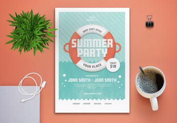 Summer Party Flyer Layout with Underwater Theme