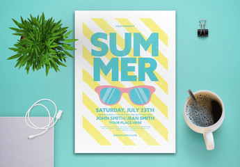 Summer Party Flyer Layout with Stripes and Sunglasses
