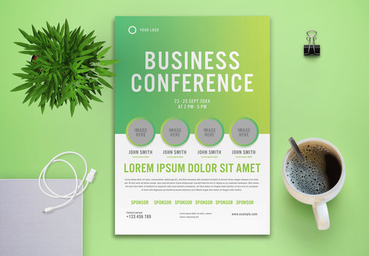 Business Conference Flyer Layout with Green Elements