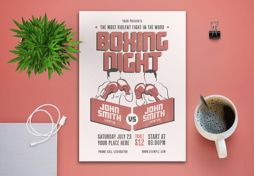 Boxing Event Flyer Layout with Salmon Elements