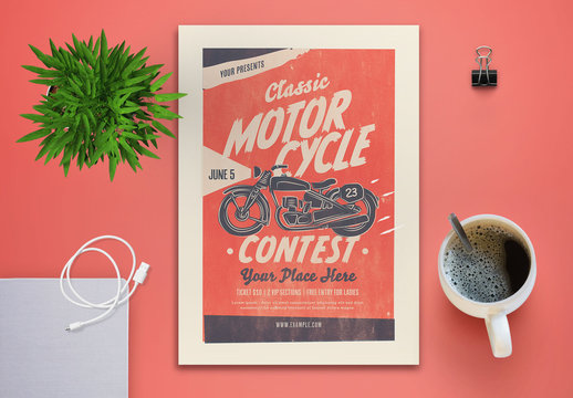 Motorcycle Contest Flyer Layout with Pink Elements