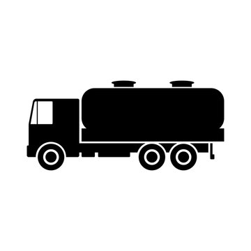 Black truck with tank. Side view. Vector drawing. Isolated object on white background. Isolate.