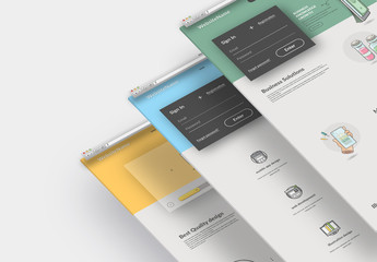 Colorful Business Website Layout Set with Graphic Icons