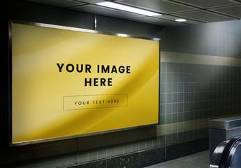 Subway Signboard Mockup