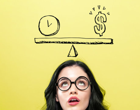 Time and money on the scale with young woman wearing eye glasses