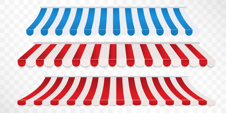 Set of red and white, blue and white strip colorful awnings for shop. Tent sunshade for market isolated on white background.
