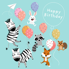 Happy birthday greeting card with cute animal and balloons, Zebra, rabbit, raccoon, squirrel and fox cartoon vector. Animal wildlife character set.