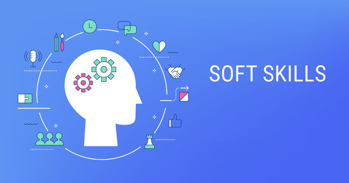 Soft Skills, Social and Emotional Intelligence Concept Illustration. Flat Vector Design