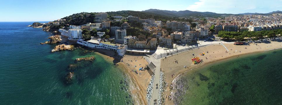 Aerial view in Sant Feliu de Guixols, coastal village of Costa Brava, Girona. Catalonia,Spain.Drone Photo