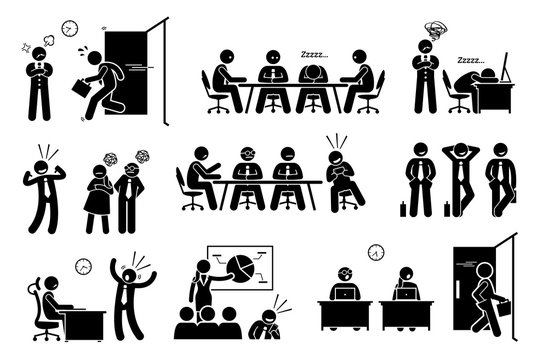 Lazy useless millennials social issue at workplace. Vector artwork depicts young generation worker late to work, sleeping during meeting, boastful, irresponsible, leaving early, and feeling entitled.