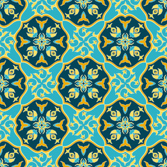 Foto op Canvas Marokkaanse Tegels Vintage tile pattern vector seamless with barcelona ornaments. Spanish ceramic motif texture. Majolica mosaic background for kitchen wall or bathroom floor.