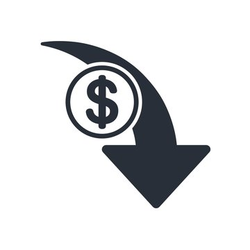Reduce costs, vector  icon money. White background.