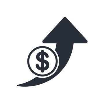 Increase profits, vector  icon money. White background.