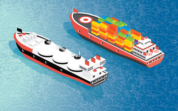 Isometric Cargo Ship Container and LNG Carrier Ship.