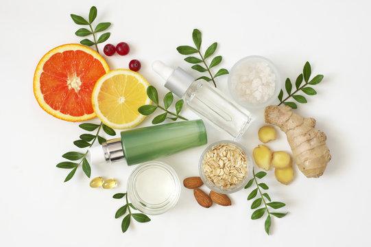 Natural organic cosmetics on white