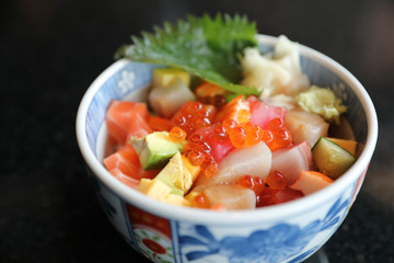 Mix sushi donburi in bowl , Japanese food