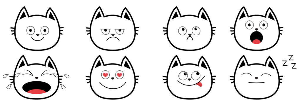 Cute black contour cat set line. Funny cartoon characters. Emotion collection. Happy, surprised, crying, sad, angry, smiling. White background Isolated. Flat design.