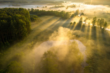 Scenic summer background. Sunbeams on river nature aerial view. Scenery sunny landscape. Amazing bright sunlight over river. Sun rays on green misty meadow Fototapete