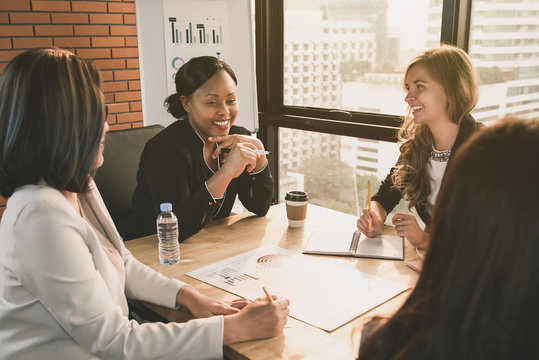 Diverse businesswoman leaders in meeting room