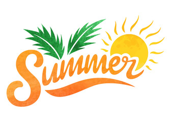 Summer logo. Brush lettering composition. Isolated Watercolor on white background. Summer typography. Vector illustration. for print, icon design, web, home decor, fashion, surface, graphic design
