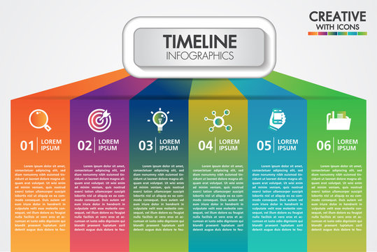 Vector business infographics presentation with 6 steps or options design with icons. Can be used place for text for presentations banner, workflow layout, process diagram, flow chart, info graph.