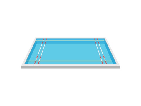 Pool for water polo. View from above. Vector illustration on white background.