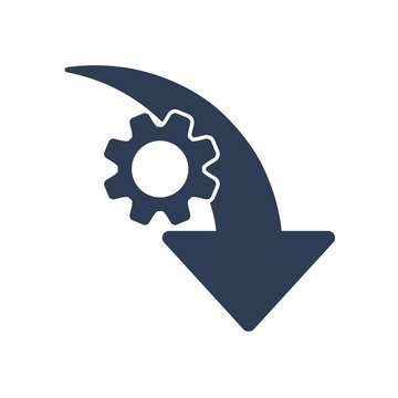 Reduction efficiency, productivity. Vector  icon gear wheel, arrow pointer . White background.
