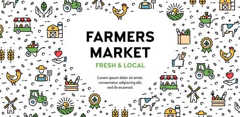 Vector Farmers Market Icon Logo Banner